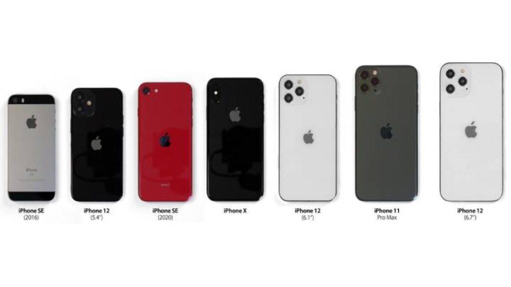 مقارنة بين هاتف ابل ايفون 12 وهواتف ابل الاخرى من حيث التصميم والحجم