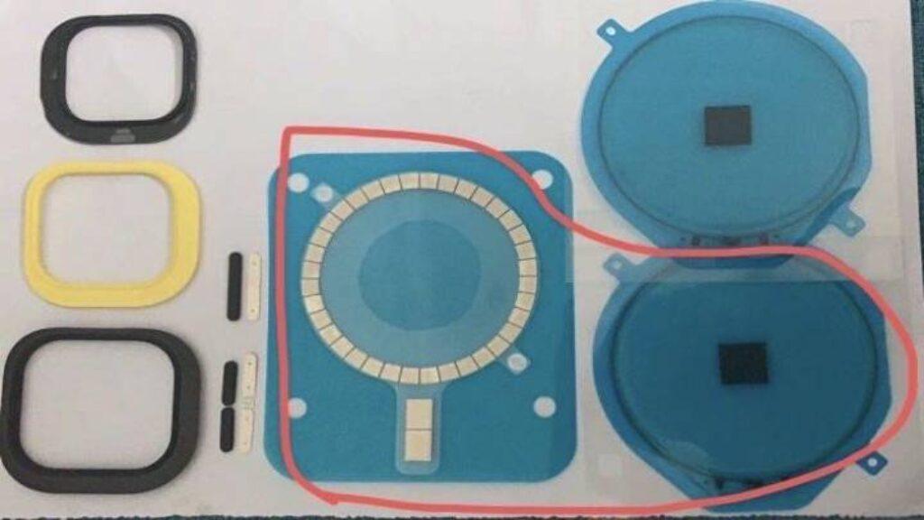 صورة مسربة لقطع مغناطيسية لتثبيت هاتف الآيفون 12 على قاعدة أبل للشحن اللاسلكي