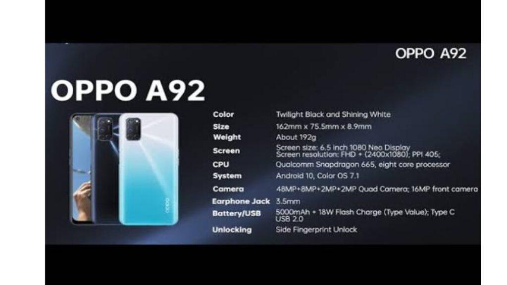 مواصفات OPPO A92