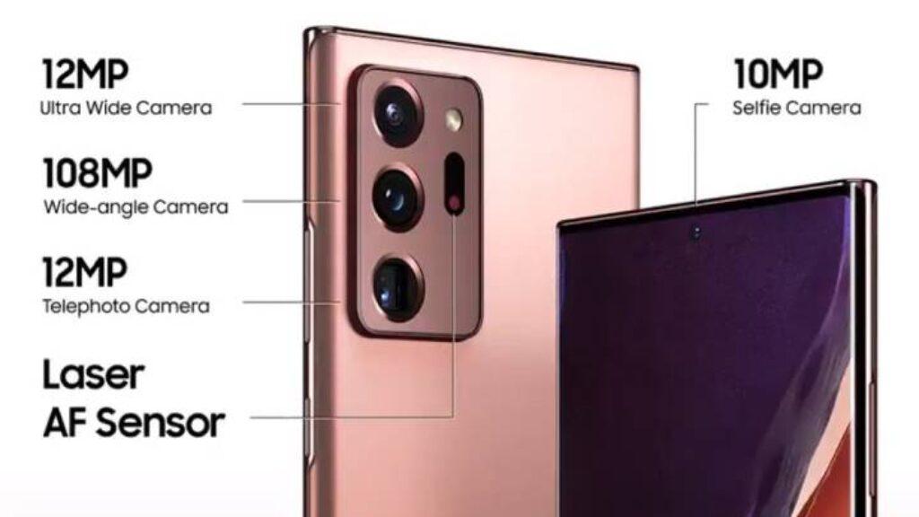الكاميرا الخلفية والامامية عملاقة لهاتف Samsung Galaxy Note20 Ultra